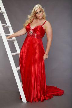 Red full figured dress