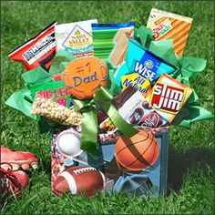 Fathers Day gift baskets, Fathers Day gift ideas, Father's Day gift basket, nuts, chips, beef jerky, sourdough nuggets, cookies, crackers. $59.99  http://www.oldtimechocolates.com/store/fathers-day-gift-baskets/sports-fan-fathers-day-gift-basket-777700000403007/