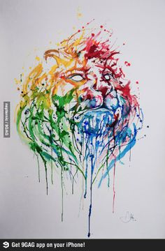 Through and splash watercolour lion - this is stunning