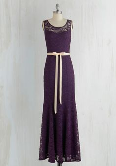 A Real Romantic Dress - Purple, Solid, Lace, Belted, Special Occasion, Prom, Wedding, Bridesmaid, Maxi, Sleeveless, Better, Scoop, Sheer, Knit, Lace, Long, Homecoming