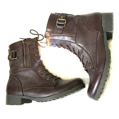 Guess Combat Boots Great condition. Laced up in front but also has zipper for easy in & out. Guess Shoes Combat & Moto Boots
