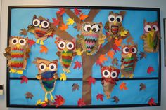 fall art project for elementary students - Bing images Fall Art Projects, School Art Projects, Kindergarten Art, Preschool Art, Art Bulletin Boards, Timmy Time, First Grade Art, Owl Classroom, Art Lessons Elementary