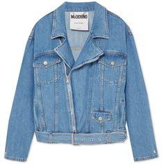 Moschino Denim biker jacket (3,010 ILS) ❤ liked on Polyvore featuring outerwear, jackets, moschino jacket, blue jean jacket, asymmetrical zip jackets, collar jacket and moto jackets