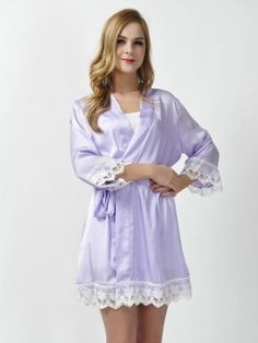 Blue woman robe from 80/'s Long length Kimono dressing gown Butterfly sleeves Lace details Light synthetic homewear Vintage woman robe 80/'s