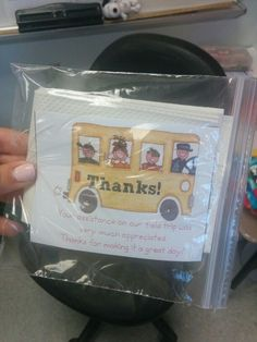 Chaperone kit for field trips: tissues napkins band aids and I thank you card