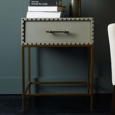gorgeous studded, nailhead nightstand // west elm