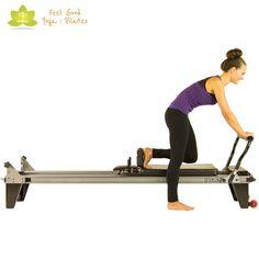 scooter round back pilates reformer exercise start position