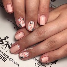 Accurate nails, Bright moon nails, flower nail art, Gentle peach nails, Half-moon nails ideas, Nails with flower print, Original nails, Sakura nails