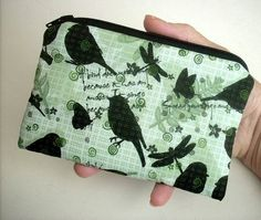 50% Off Last Chance SALE Green Natures Walk ECO Friendly Padded Zipper Pouch Coin Purse by JPATPURSES, $4.00