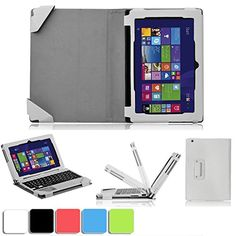 cool IVSO Toshiba Satellite Click Mini 8.9-Inch - 2-In-1 Leather Portfolio Stand Cover Case for Toshiba Satellite Click Mini 8.9-Inch laptop - Docking Keyboard NOT Included (White),