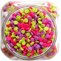 Neon Sequin Quin Sprinkles from Layer Cake Shop!  Pink, Purple, Lime Green! oh my!