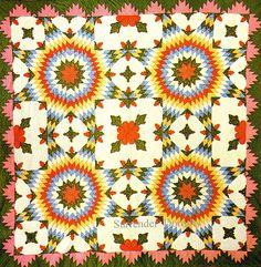 Pieced & Applique Quilt Touching Stars 1870 Pennsylvania