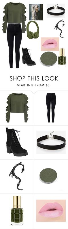 """""""Green Alligator"""" by melody-marvell on Polyvore featuring WithChic, J Brand, Express, Chantecaille and L'Oréal Paris"""