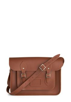 Cambridge Satchel Upwardly Mobile Satchel in Brown - 14 inch | Mod Retro Vintage Bags | ModCloth.com $179.99