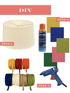 Step 1: Pick up plain white drum shade. This 16″ shade is only $13.47.  Step 2: Use spray adhesive to attach colorful burlap {$3.25 a yard}.For a 16″ shade you will only need 1/2 yard. Apparently if you are trying to get a coral shade you can just bleach black burlap and voila coral.  Step 3: Use a glue gun and attach 1/2″ burlap ribbon {$2.85 for a 3 yard bundle} border.