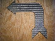 Vintage Style Corrugated Bent Arrow Metal Sign