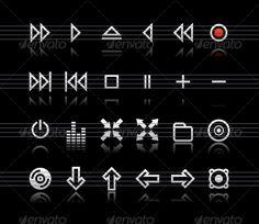 Simple icons on black background - Set 2