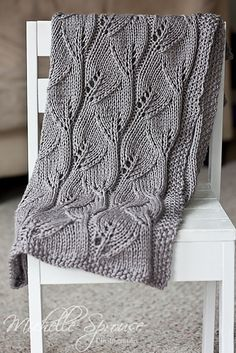 leafy knit afghan - gorgeous free pattern on Ravelry