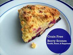 Grain Free Berry Scones made with Almond Flour. Gluten Free, GAPS Friendly!