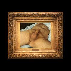 """ORLAN """"Origine de la guerre"""", pendant du célèbre tableau de Gustave Courbet, """"L'Origine du monde"""" : un phallus en érection, des jambes écartées """"travestissant"""" la célèbre iconographie féminine de Courbet, illustre le titre en un geste qui ne se départit pas du féminisme."""