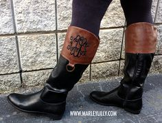 Monogrammed Brown and Black Colorblock Riding Boots