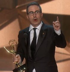 John Oliver accepting his Emmy ~ Wired