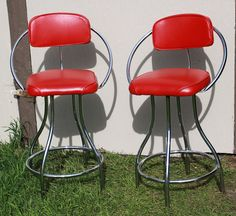 PAIR Art Deco Mid Century Modern red Coka-Cola style bar stools jetson style on Etsy, $471.74