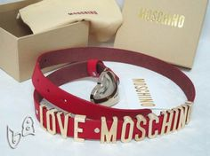 Moschino LOVE MOSCHINO Gold Small Leather Belts Red