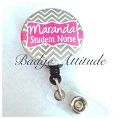 Personalized Student Nurse Retractable Badge by BadgeAttitude