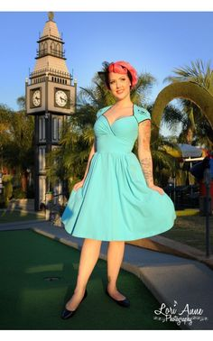 Luscious Dress in Sky Blue with a Neverland Pirate Skull - Dresses - Clothing | Pinup Girl Clothing