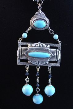 Vintage Art Deco Egyptian Revival Glass Repousse by garnetcross, $100.00