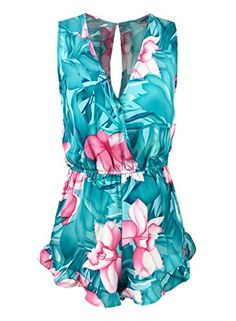 f96089438c Futurino Women s Floral Print Sleeveless Short Pants Sexy V-neck Jumpsuit  Romper
