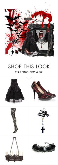 """""""Lust For Blood"""" by catherinechronicles ❤ liked on Polyvore featuring Morgan, Hell Bunny, McQ by Alexander McQueen, Cameo, Elie Tahari, gothic, cameo jewelry, bloods, vamp and fangs"""