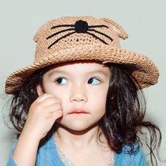 224970f3036 Cute cat crochet sun hats with ears for kids summer straw bucket hat