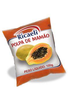 A Polpa de Fruta Riacaeli sabor Mamão é um produto 100% Natural, é Distribuída de Fruit Mix nas embalagens de 100g e 1Kg (10 unidades de 100g)