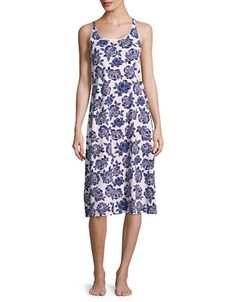 "<ul><li>Rose print covers this comfortable sleep gown with a modern, racerback style</li><li>Roundneck</li><li>Sleeveless</li><li>Racerback</li><li>About 50"" from shoulder to hem</li><li>Pima cotton</li><li>Machine wash</li><li>Imported</li><li>Model shown is 5'10"" (177cm) wearing US size Small<br></li></ul&g..."