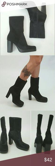 90's style square toe boots with pony hair Square toe boots. Black in color, pony hair texture. Mid calf. Like new condition. Not UO. Tagged for exposure. Urban Outfitters Shoes Heeled Boots