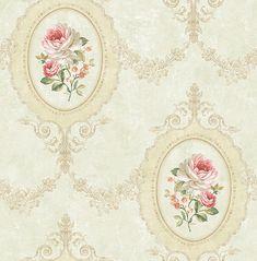 Tapete, Designtapete, Floral, Landhaus, Schimmer, Honiggold, Medaillon, edel