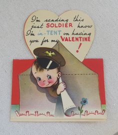 VINTAGE Military Soldier Theme Valentine Card