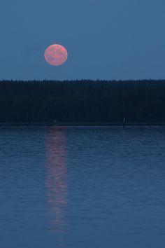 Lunar eclipse in the bright summer night in Finland.
