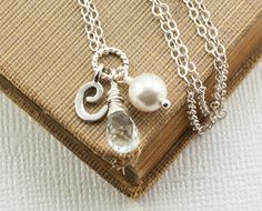 Aquamarine Necklace Birthstone Jewelry March by DasheDesigns, $34.00