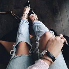 denim and studded shoes.