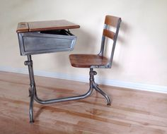 Vintage School Chair 1920s Refinished Industrial Adjustable Chair 1920s