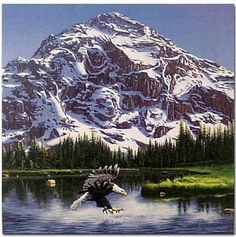 Look at the mountains and see how many other animals you can find. I found 7. Cool picture.