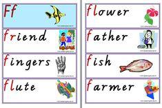 Letter Ff | Words | Flashcards Reading Worksheets, Word Pictures, Kindergarten Reading, Flute, Prompts, Alphabet, Lettering, Learning, Words