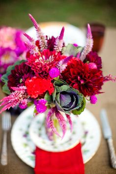 Enchanting Bright Pink and Magenta Flower Centerpiece