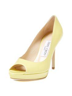 Luna Patent Leather Peep Toe Platform Pump from Jimmy Choo Shoes & Handbags on Gilt