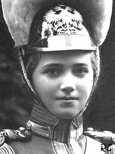 Grand Duchess Maria in the uniform of 'her' 5th Kazansky Dragoons