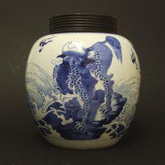 KANGXI 1662 - 1722 Chinese Export Porcelain A Kangxi Blue and White Porcelain Ovoid Jar