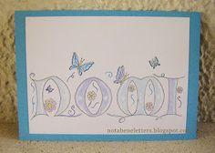 Nota Bene: Vlinders en bloemen - Butterflies and Flowers; persoonlijke verjaardagskaart; personal birthday card; kalligrafie; calligraphy; lombarden; versals